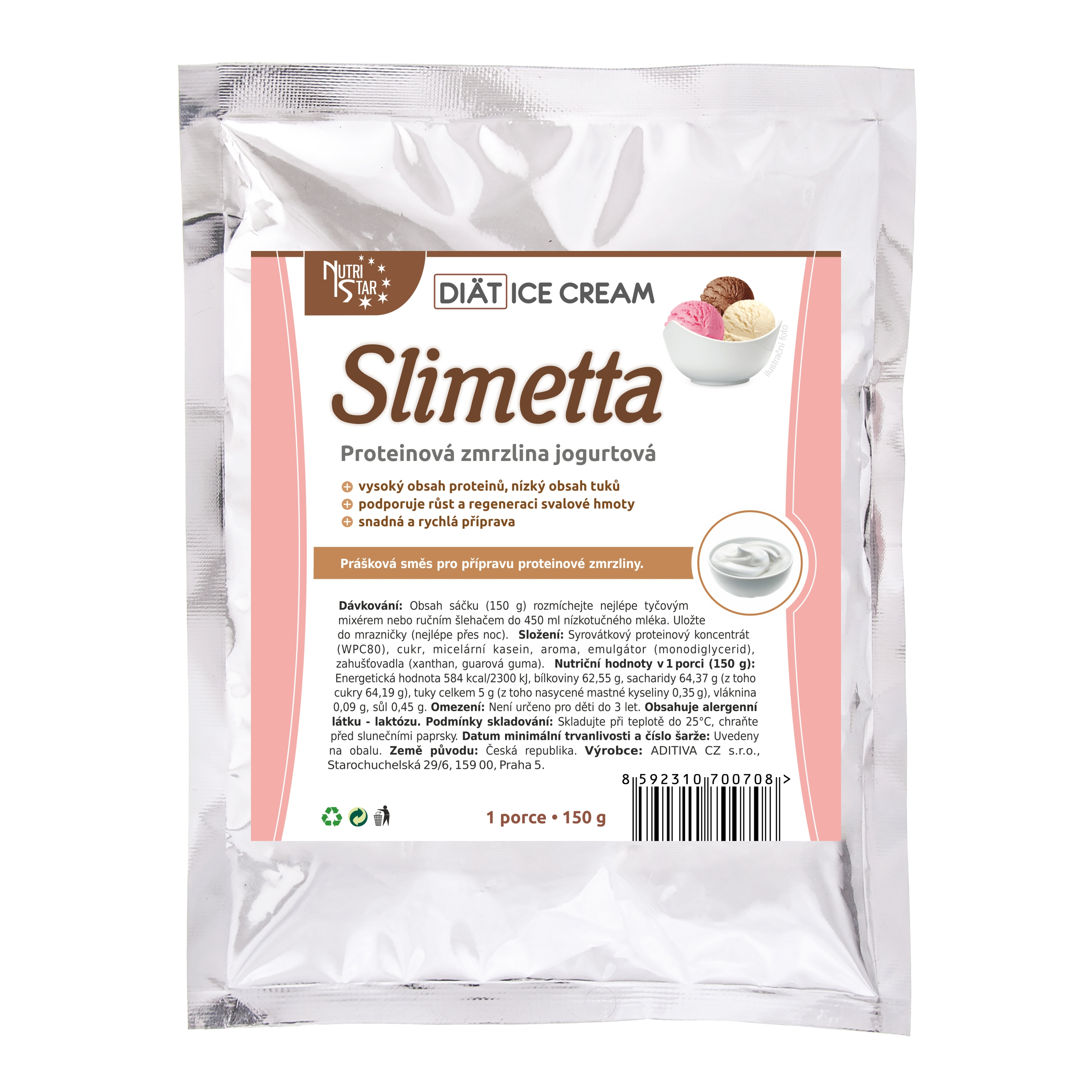 Diät Ice Cream Slimetta 150 g - 1 porce